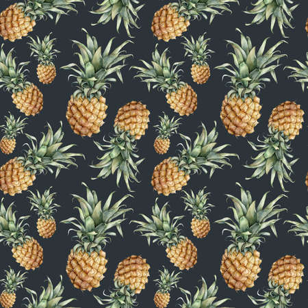 Watercolor seamless pattern with ripe pineapple. Hand painted tropical fruit with leaves isolated on black background. Botanical food illustration for design, print, fabric, interior or background.