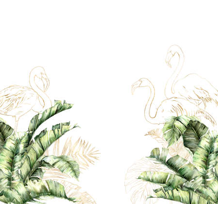 Watercolor frame with gold flamingo and banana branches. Hand painted border with linear bird and palm leaves isolated on white background. Floral illustration for design, print or background. 免版税图像