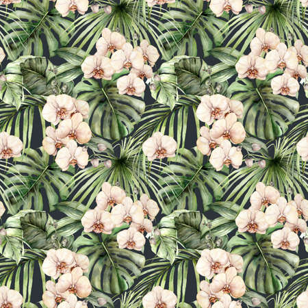 Watercolor seamless pattern with orchids and jungle palm leaves. Hand painted exotic flowers and leaves isolated on black background. Floral tropical illustration for design, fabric or background. 免版税图像