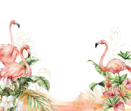 Watercolor tropical border with flamingos and flowers. Hand painted gold birds, anthurium, lupine and leaves. Floral linear illustration isolated on white background for design, print, background.