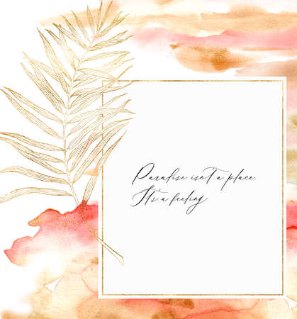 Watercolor line art frame with palm branch. Hand painted tropical abstract border with red and beige brush isolated on white background. Floral illustration for design, print, fabric or background.