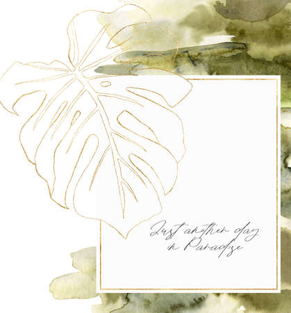 Watercolor line art frame with monstera branch. Hand painted tropical abstract border with green brush isolated on white background. Floral illustration for design, print, fabric or background.