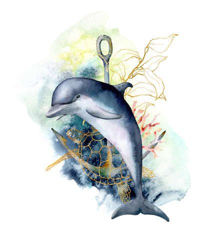 Watercolor underwater composition with dolphin, turtle, anchor and linear coral reef plants. Hand painted oceanic illustration isolated on white background. Aquatic card for design, print, background.