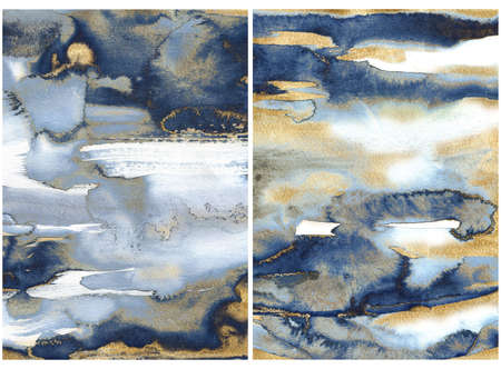 Watercolor ocean abstract texture with gold and blue waves. Hand painted sea or ocean background. Aquatic illustration for design, print or background. 免版税图像