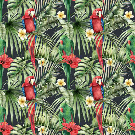 tropical seamless pattern with parrots, plumeria and hibiscus. Hand painted birds, flowers and palm leaves. Floral illustration isolated on black background for design, print or background.