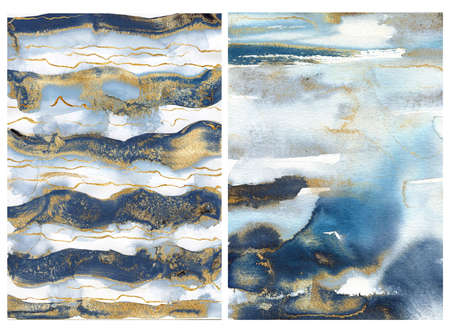 Watercolor ocean abstract texture with blue, white and gold waves. Hand painted sea or ocean background. Aquatic illustration for design, print or background.