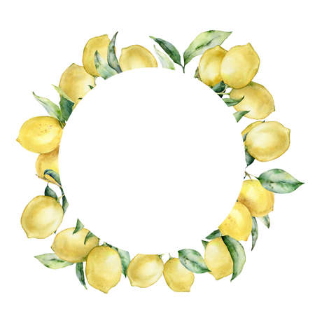 Watercolor tropical circle wreath with lemon and leaves. Hand painted exotic card with plant isolated on white background. Floral illustration for design, print, fabric or background. 免版税图像
