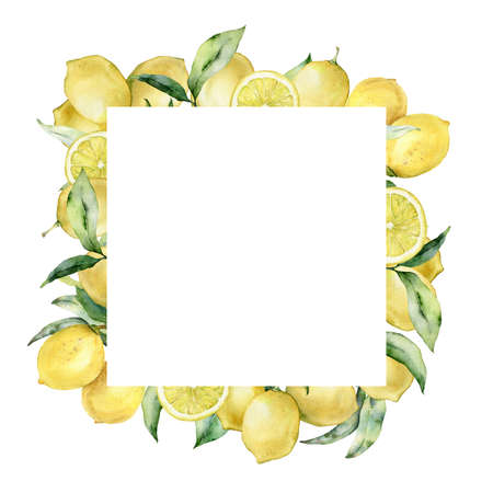 Watercolor tropical square border with lemon and leaves. Hand painted exotic card with plant isolated on white background. Floral illustration for design, print, fabric or background.