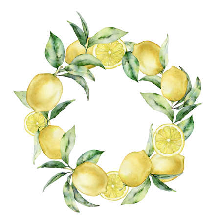 Watercolor tropical circle wreath with leaves and lemon. Hand painted exotic card with plant isolated on white background. Floral illustration for design, print, fabric or background.