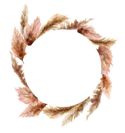 wreath with pampas grass. Hand painted exotic dry leaves isolated on white background. Floral illustration for design, print, fabric or background. 免版税图像