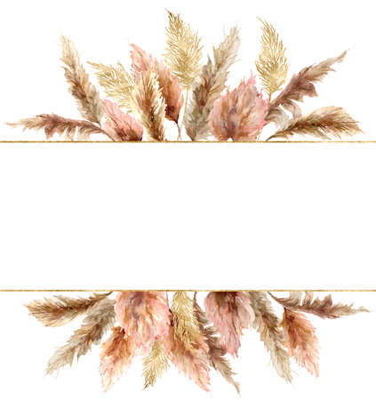 tropical banner with dry pampas grass and gold textures. Hand painted exotic plant isolated on white background. Floral illustration for design, print, fabric or background.