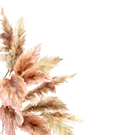 Watercolor tropical border with dry pampas grass and gold textures. Hand painted exotic frame isolated on white background. Floral illustration for design, print, fabric or background.