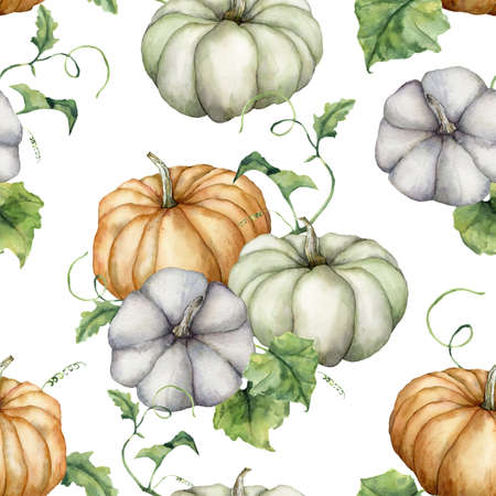 Watercolor pumpkins and leaves seamless pattern. Hand painted blue, green and orange gourds isolated on white background. Autumn harvest festival. Botanical illustration for design, print, background.