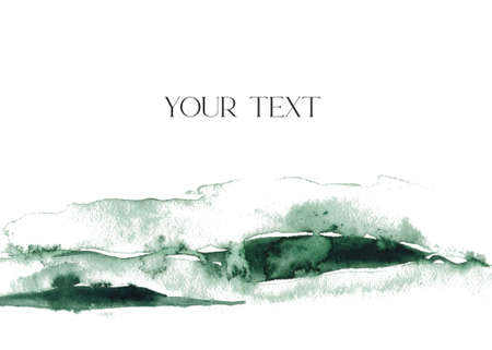 Watercolor card with abstract green texture. Hand painted blue sea or ocean abstract background. Aquatic illustration for design, print or background. 免版税图像