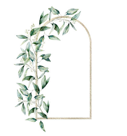 Watercolor gold border with eucalyptus branch and leaves. Hand painted exotic card with plant isolated on white background. Floral illustration for design, print, fabric or background.
