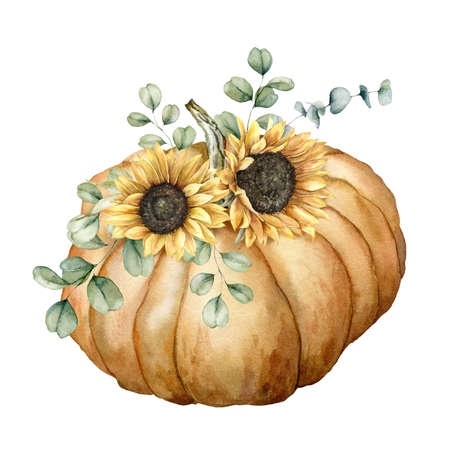 Watercolor autumn composition with pumpkin, sunflowers and eucalyptus branches. Hand painted rustic card isolated on white background. Floral illustration for design, print, fabric or background. 免版税图像