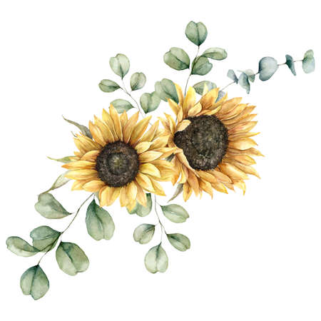 Watercolor autumn bouquet with sunflowers and eucalyptus branches. Hand painted rustic card isolated on white background. Floral illustration for design, print, fabric or background.