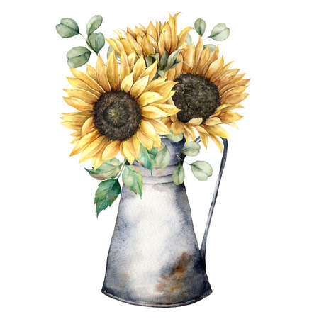 Watercolor autumn bouquet with sunflowers, eucalyptus branches and jug. Hand painted rustic card isolated on white background. Floral illustration for design, print, fabric or background.