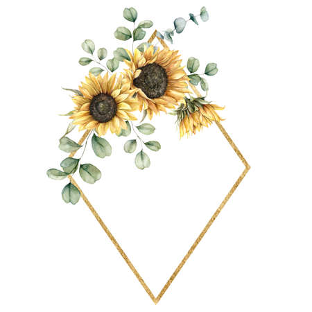 Watercolor autumn gold frame with sunflowers and eucalyptus branches. Hand painted rustic card isolated on white background. Floral illustration for design, print, fabric or background.