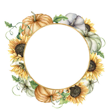 Watercolor autumn circle frame with sunflowers, pumpkins and leaves. Hand painted gold border with gourds isolated on white background. Floral illustration for design, print, fabric or background. 免版税图像