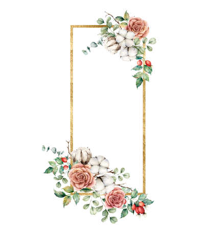 Watercolor autumn gold frame with roses, cotton, dogroses and eucalyptus branches. Hand painted rustic card isolated on white background. Floral illustration for design, print, fabric or background. 免版税图像