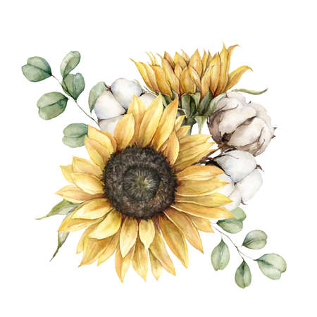 Watercolor autumn bouquet with sunflowers and cotton. Hand painted rustic card isolated on white background. Floral illustration for design, print, fabric or background.