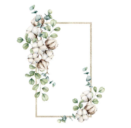 Watercolor autumn frame with cotton and eucalyptus branches. Hand painted rustic card isolated on white background. Floral illustration for design, print, fabric or background.