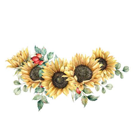Watercolor autumn bouquet with sunflowers, berries, eucalyptus leaves and dogroses. Hand painted rustic card isolated on white background. Floral illustration for design, print, fabric or background. 免版税图像