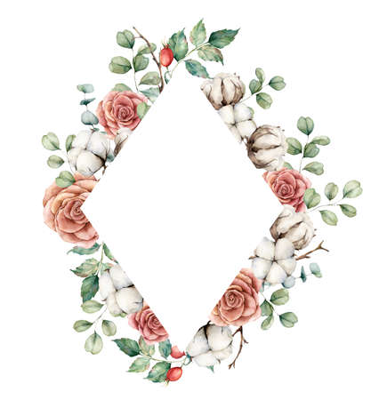 Watercolor autumn frame with roses, cotton, dogroses and eucalyptus branches. Hand painted rustic card isolated on white background. Floral illustration for design, print, fabric or background.