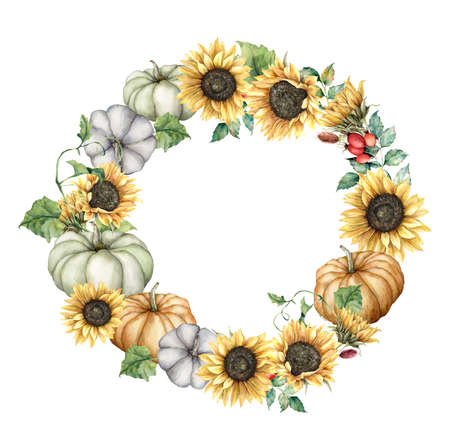 Watercolor autumn circle frame with sunflowers, pumpkins, berries and leaves. Hand painted border with gourds isolated on white background. Floral illustration for design, print, fabric or background.