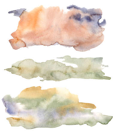 Watercolor texture set with orange, beige, green and blue spots. Hand painted beautiful illustration isolated on white background. For design, print, fabric or background. 免版税图像
