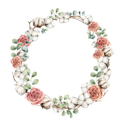 Watercolor autumn wreath with roses, cotton and eucalyptus branches. Hand painted rustic card isolated on white background. Floral illustration for design, print, fabric or background. 免版税图像