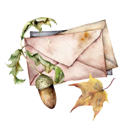Watercolor autumn set with envelopes, acorn and leaves. Hand painted rustic card isolated on white background. Floral illustration for design, print, fabric or background.