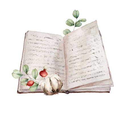 Watercolor autumn composition with open book, cotton, berries and eucalyptus branches. Hand painted education card isolated on white background. Floral illustration for design, print or background.