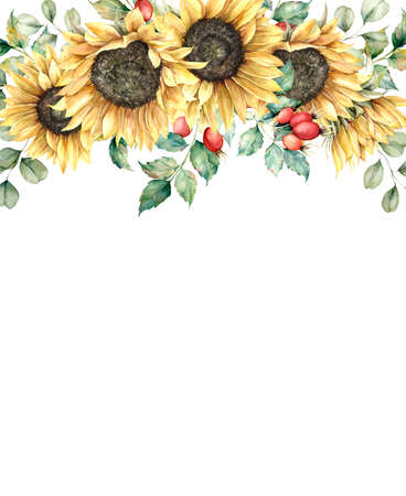 Watercolor autumn card with sunflowers, berries, eucalyptus leaves and rose hips. Hand painted composition isolated on white background. Floral illustration for design, print, fabric or background.
