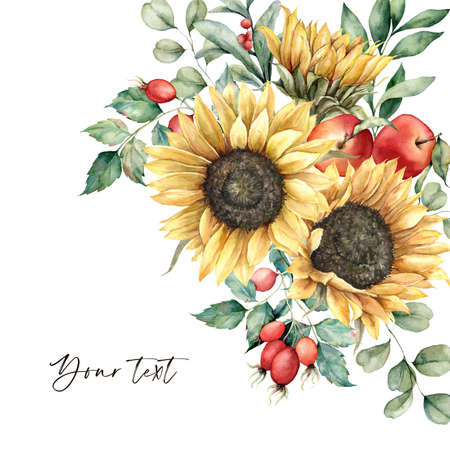Watercolor autumn greeting card with sunflowers, leaves, apples and rose hips. Hand painted rustic composition isolated on white background. Floral illustration for design, print, fabric, background. 免版税图像