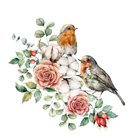 Watercolor card with robin redbreast, cotton, rose, berries and eucalyptus leaves. Hand painted bird and flowers isolated on white background. Floral illustration for design, print or background. 免版税图像