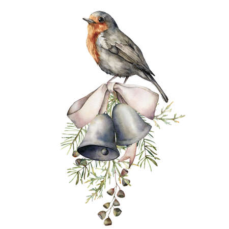 Watercolor composition with bird, silver bow and bells. Hand painted holiday decor with fir branch isolated on white background. Vintage illustration for design, print, fabric or background.