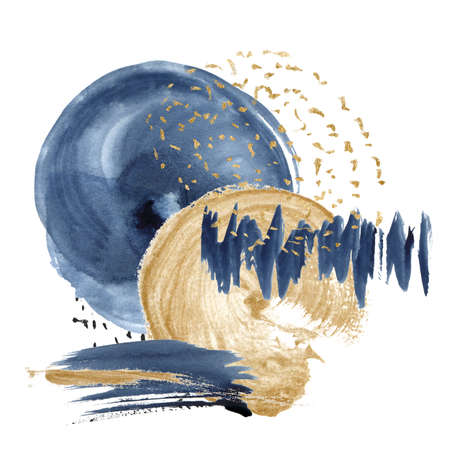 Watercolor dark blue and gold abstract card. Hand painted underwater card with circle ocean texture. Marine illustration for design, print, fabric or background. 免版税图像