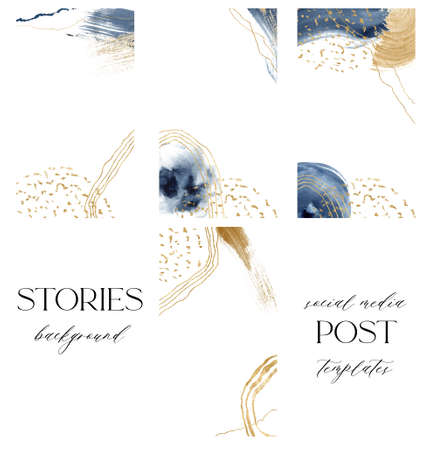 Watercolor blue and gold abstract cards for stories. Hand painted underwater social media cards with ocean texture. Marine illustration for design, print, fabric or background. 免版税图像 - 156035494