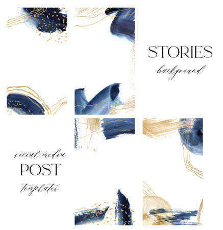 Watercolor gold and dark blue abstract cards for stories. Hand painted underwater social media cards with ocean texture. Marine illustration for design, print, fabric or background. 免版税图像