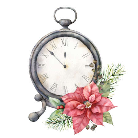 Watercolor vintage table clock with poinsettia. Christmas illustration with vintage watch isolated on white background. Five minutes to twelve oclock of new year. For design, print or background. 免版税图像 - 156462908