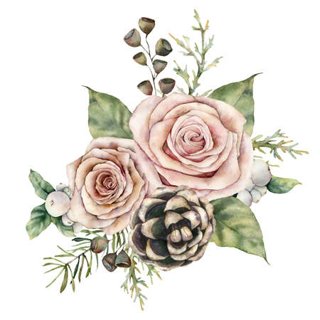 Watercolor Christmas card with roses, pinecone and fir branch. Hand painted floral composition with flowers, seeds and berries isolated on white background. Illustration for design, print, background.