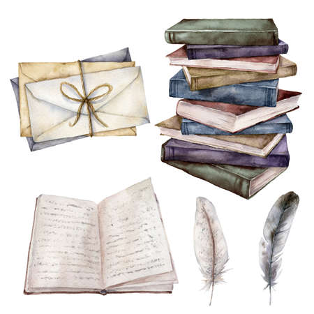 Watercolor vintage set with book, feather and envelopes. Hand painted stack of books isolated on white background. Illustration for design, print, fabric or background. 免版税图像 - 156462910