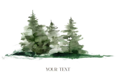 Watercolor winter composition. Hand painted fir trees illustration isolated on white background. Holiday clip art for design, print, fabric or background. 免版税图像