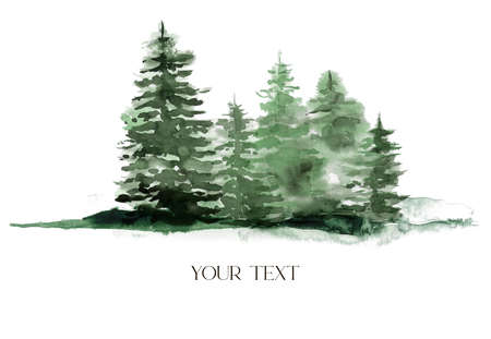 Watercolor winter green forest. Hand painted foggy fir trees illustration isolated on white background. Holiday clip art for design, print, fabric or background. 免版税图像 - 156052236