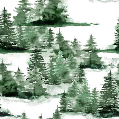 Watercolor Christmas seamless pattern with winter green forest. Hand painted fir trees and snow illustration isolated on white background. Holiday illustration for design, print, fabric or background. 免版税图像