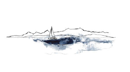 Watercolor minimalistic seascape with black mountains and boat. Hand painted linear card on white background. Oceanic illustration for design, print, fabric or background. 矢量图像