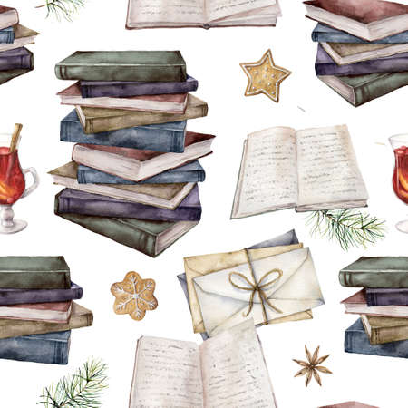 Watercolor seamless pattern with vintage books, envelopes and mulled wine. Hand painted stack of books isolated on white background. Illustration for design, print, fabric or background.