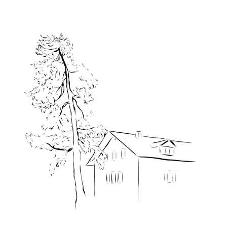 Vector minimalistic card wth line art house and tree. Hand painted linear composition on white background. Contour illustration for design, print, fabric or background.